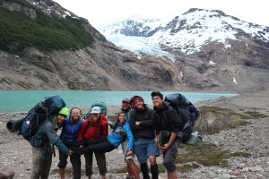 HMI Gap group at the glacier lake, Patagonia National Park